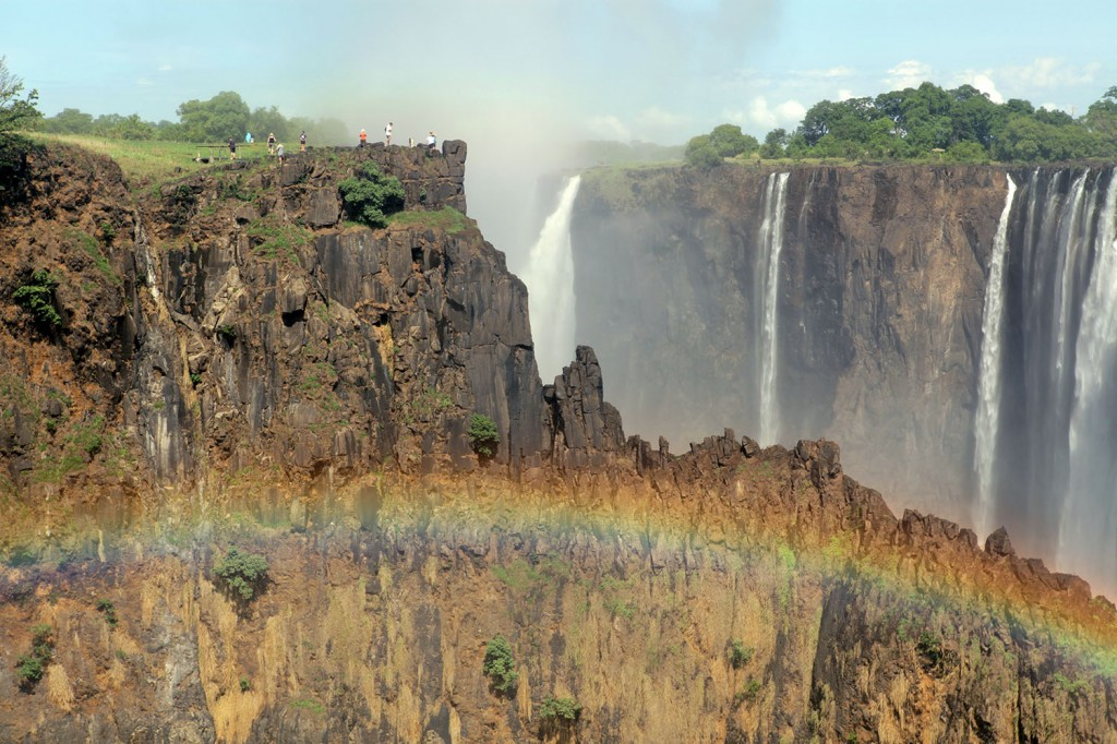 looking across to the zimbabwe side of victoria falls