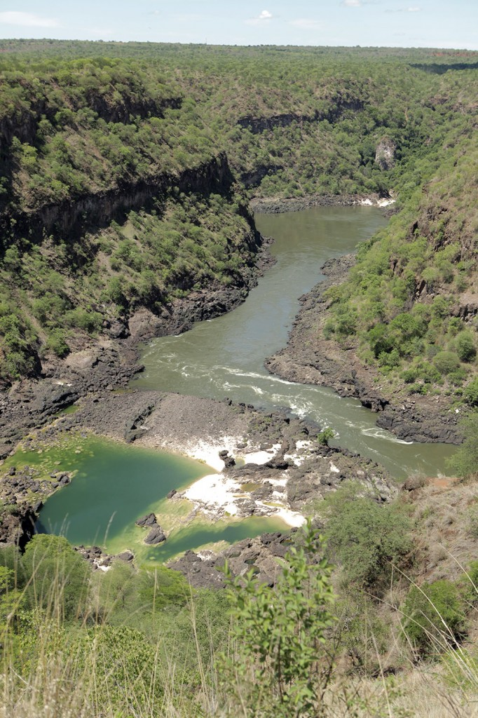 the swimming hole (lower left) is only accessible during dry season - once the river reaches its maximum level, it covers that entire area